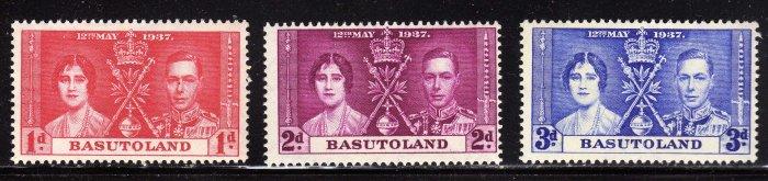 SCOTT# 15, 16, 17, BASUTOLAND-KING GEORGE CORONATION ISSUE