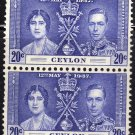 SC0TT# 277 CEYLON STAMPS KING GEORGE Vl CORONATION ISSUE