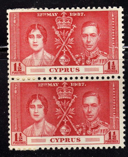 SC0TT# 141, CYPRUS STAMPS KING GEORGE Vl CORONATION ISSUE
