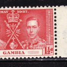 SC0TT# 129, 130, 131,- GAMBIA STAMPS KING GEORGE Vl CORONATION ISSUE