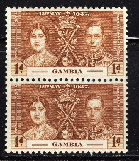 SC0TT# 129- GAMBIA STAMPS KING GEORGE Vl CORONATION ISSUE