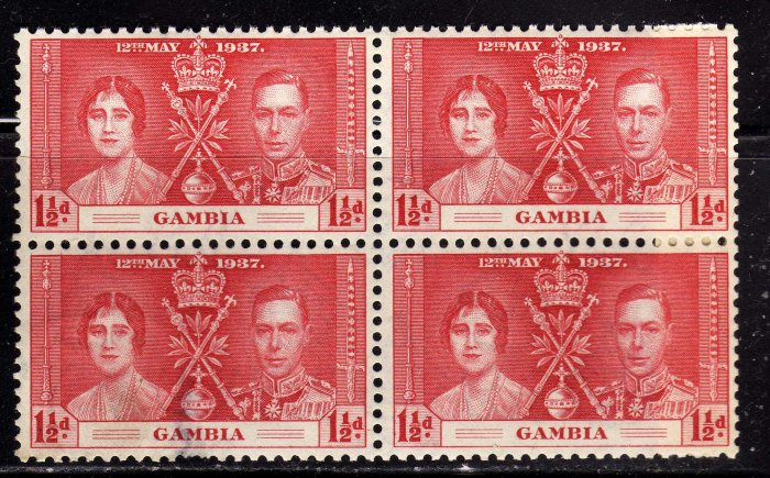 SC0TT# 130 - GAMBIA STAMPS KING GEORGE Vl CORONATION ISSUE