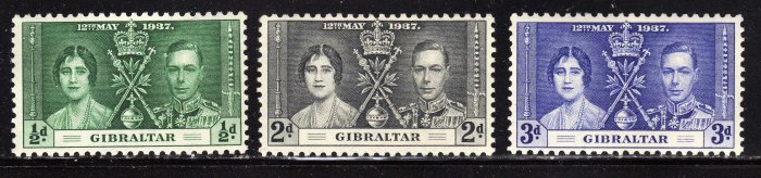 SC0TT# 104, 105, 106,- GIBRALTAR STAMPS KING GEORGE Vl CORONATION ISSUE