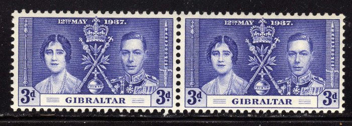 SC0TT# 106,- GIBRALTAR STAMPS KING GEORGE Vl CORONATION ISSUE