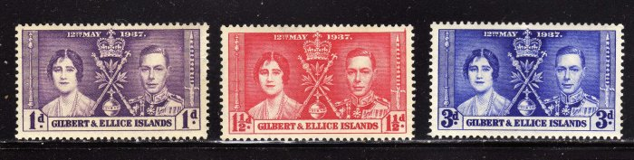 SC0TT# 37, 38, 39- GILBERT AND ELLICE ISLAND STAMPS KING GEORGE Vl CORONATION ISSUE