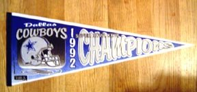 1992 Dallas Cowboys Super Bowl Champions Pennant