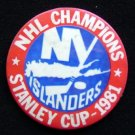 1981 New York Islanders Hockey NHL Champions Pin 31/2""