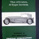1966 Invicta S-Type 4.5L Profile Pub Auto Car Brochure