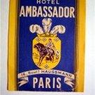 1940s Hotel Ambassador Paris France Luggage Label