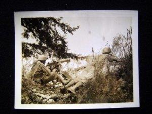 WWII Photo GIs in Field w/Machine Gun in Action