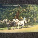 Colonial Coach & Four  Williamsburg VA  Linen Post Card