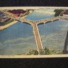Y Bridge from Air Zaneville, Ohio Linen Post Card