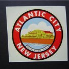 RARE 1950s Atlantic City New Jersey Water Decal Art NM