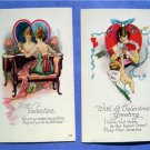 2 ~ 1930s Pretty Woman Valentine Post Cards NM