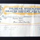 Dr Hess Stock Food Poultry Pan-a-ce-a Letter Head 1901