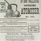 SHURTLEFF VAPOR ATOMIZER MEDICAL LUNG INHALATIO 1895 AD