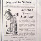 ARNOLD'S MEDICAL STEAM STERILIZER PASTEURIZING 1895 AD