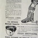 ORTHOPEDIC MEDICAL ARTIFICAL LIMBS FEICK BROS 1895 AD