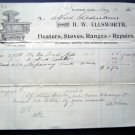 1910 H W Ellsworth Heater Stove Range Portland Invoice