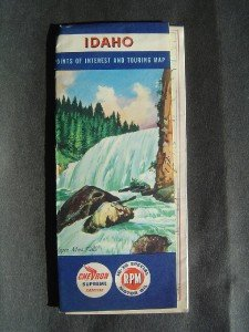 1956 CHEVRON Gasoline Road Touring Map Idaho