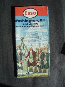 1952 ESSO Gas Road Map Washington D C & Vicinity