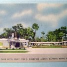 Sun 'N Sand Hotel Court Daytona Florida Linen Postcard