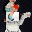 Vintage Valentine Card Mechanical, Boy Riding a Rocking