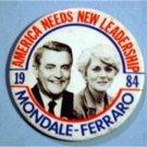 Walter Mondale Geraldine Ferraro 1984 Political Pin America needs new Leadership
