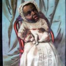 ANTIQUE BLACK AMERICANA FANTASY PRINT YOUNG CHILD HOLDING PUPPY LITHO