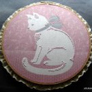 Embroidered White Cat on Pink Background with Wood Hoop Wall Hanging