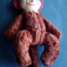 "Vintage Monkey 13"" Brown Plush Stuffed Animal Figure Plastic Face"