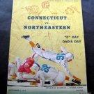 Vintage NCAA Football Program University Connecticut vs Northeastern Nov 1954