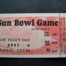 Vintage 1943 Sun Bowl Second Air Force Hardin-Simmons Football Ticket Stub Texas