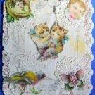 Antique  Victorian Die Cut Paper Lace Pop Up Valentine Card  NICE