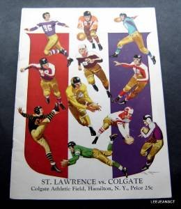 Vintage NCAA College Football Program Colgate Univ vs St Lawrence 1941