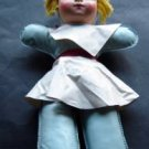 "Vintage Childs Blue Vinyl Doll with Blond Yarn Hair 13"" Tall"