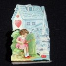 Early German Valentine Little Girl Fishing Pull down Pop up Stand up Die cut
