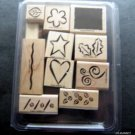 Stampin' Up! Rubber Stamps Mounted Bold Basics Set of 11 MIP Scrapbooking