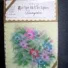 Vintage 1940s Rice Paper Silk Effect Napkins Cocktail Baumgarten Floral Design