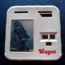 "Wayne Ship Plastic & Metal Coin Bank Kenneth Coin Co Milwaukee Wi 4"" Sq"
