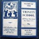 1940 Baseball Tennis Spalding Schedules Trinity School NY City VG