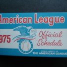 1975 American League Official Schedule Booklet