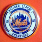 "1986 New York Mets National League Champions Baseball Pin 1 1/4"" Diameter"