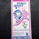 Philadelphia Phillies 1980 World Series Full Ticket Game X Seat 12