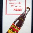 Vintage Royal Crown RC Cola Free Bottle Advertising Card Nehi Bottling Company