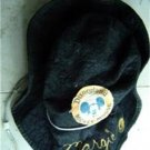 Vintage Disneyland Mickey Mouse Black Cloth Hat w Cord Size L Embroidered Name