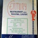Dec 24 1949 Century Restaurant & Cocktail Lounge Menu Wine Dine Music Boston Ma