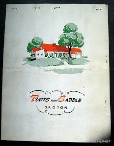 Circa 1950s Roots & Saddle Menu Historic Groton,  Mass