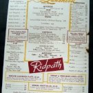 July 9, 1954 King Cole Room ~ Ridpath Luncheon Menu ~ Boston Mass or Area