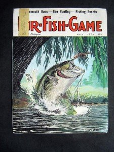 JULY 1974 FUR-FISH-GAME Bass Cover by Knuth ~ Fish Hunt Outdoor Sport